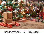 gift boxes with a large red bow ... | Shutterstock . vector #721090351