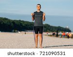 handsome young man training... | Shutterstock . vector #721090531