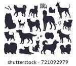 vector dog silhouettes ... | Shutterstock .eps vector #721092979