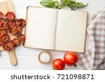 old recipe book with tomatoes ... | Shutterstock . vector #721098871