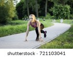beautiful girl on park is ready ... | Shutterstock . vector #721103041