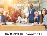 young businesswoman leading... | Shutterstock . vector #721104454
