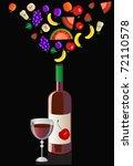 fountain of fruit from a bottle ... | Shutterstock .eps vector #72110578