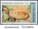 TOGO - CIRCA 1996: A stamp printed in Togo shows animal reptile turtle Puxidea mouhoti, circa 1996 - stock photo