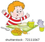cheerful boy with fat cheeks at ... | Shutterstock .eps vector #72111067