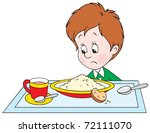 sad boy at dinner | Shutterstock .eps vector #72111070