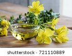 evening primrose oil in a glass ...