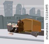 homeless bearded in shabby... | Shutterstock .eps vector #721114495