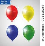 multicolored helium balloons.... | Shutterstock .eps vector #721115269