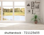idea of white empty room with... | Shutterstock . vector #721125655