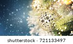 christmas ornament on wooden... | Shutterstock . vector #721133497
