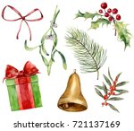 watercolor christmas plant and... | Shutterstock . vector #721137169
