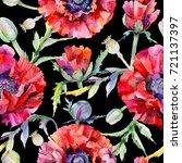 wildflower poppy flower pattern ... | Shutterstock . vector #721137397