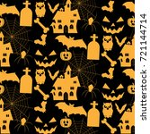 halloween background. vector... | Shutterstock .eps vector #721144714