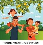 happy family having fun in the... | Shutterstock .eps vector #721145005