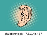 male human ear. pop art retro... | Shutterstock .eps vector #721146487