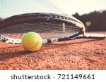 close up view of tennis racket... | Shutterstock . vector #721149661