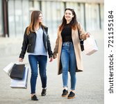 friends are happy shopping ... | Shutterstock . vector #721155184
