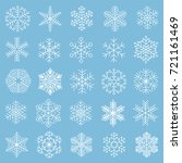 flat design line snowflakes... | Shutterstock .eps vector #721161469