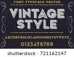 vintage font alphabet... | Shutterstock .eps vector #721162147