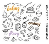 baking related hand drawn... | Shutterstock .eps vector #721163905