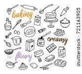 baking related hand drawn... | Shutterstock .eps vector #721163905