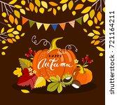 autumn pumpkin  vector... | Shutterstock .eps vector #721164211