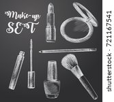 hand drawn make up sketches set.... | Shutterstock .eps vector #721167541