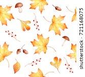 autumn watercolor seamless hand ... | Shutterstock . vector #721168075