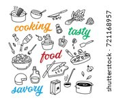 cooking related hand drawn... | Shutterstock .eps vector #721168957