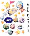 set of cartoon space objects ...   Shutterstock . vector #721170217