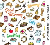colorful bright breakfast...   Shutterstock .eps vector #721170685