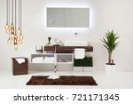 white wall clean bathroom style ... | Shutterstock . vector #721171345