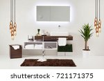 white wall clean bathroom style ... | Shutterstock . vector #721171375