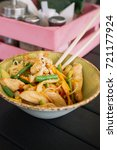 noodles with chicken and... | Shutterstock . vector #721177924