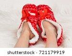 new year's  christmas slippers... | Shutterstock . vector #721179919