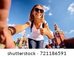 travel and technology. happy...   Shutterstock . vector #721186591
