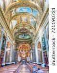 Small photo of POMPEI, ITALY - JULY 16: Inside the Shrine of Our Lady of the Rosary of Pompei, Italy, on July 16, 2017. The Church is a popular destination for pilgrims in recent years