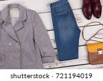 women's blazer and skinny jeans ...   Shutterstock . vector #721194019