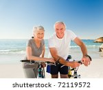 retired couple with their bikes ...   Shutterstock . vector #72119572
