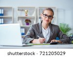 Small photo of Young businesswoman accountant working in the office