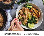 udon with padthai sauce ... | Shutterstock . vector #721206067