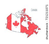canada map hand drawn sketch.... | Shutterstock .eps vector #721211071