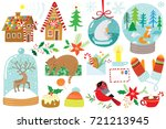 cute hand drawn christmas set | Shutterstock .eps vector #721213945