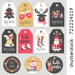 set of merry christmas and new... | Shutterstock .eps vector #721214119