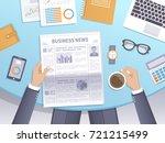 businessman reading a newspaper ... | Shutterstock . vector #721215499