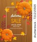 autumn sale background.... | Shutterstock . vector #721215505