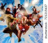 Small photo of LAS VEGAS, NV, USA - SEP 20, 2017: Marvel superheroes Iron Man, Thor, Hulk, Black Widow, Hawkeye, Vision, Vanda Scarlet Witch at the Avengers Station complex in Las Vegas.
