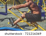 young athlete training and... | Shutterstock . vector #721216369