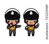 Thai Police In Uniform Wearing...